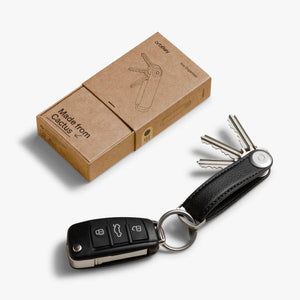 Orbitkey Cactus Leather Key Organizer on Black with packaging