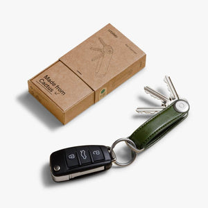 Orbitkey Cactus Leather Key Organizer on Cactus Green packaging