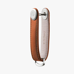 Orbitkey Leather Key Organizer in Cognac side view