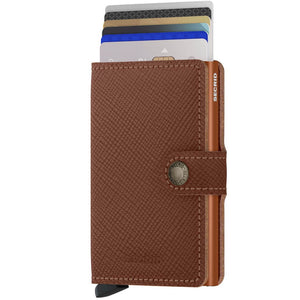 Secrid Miniwallet Saffiano in Caramel cards up