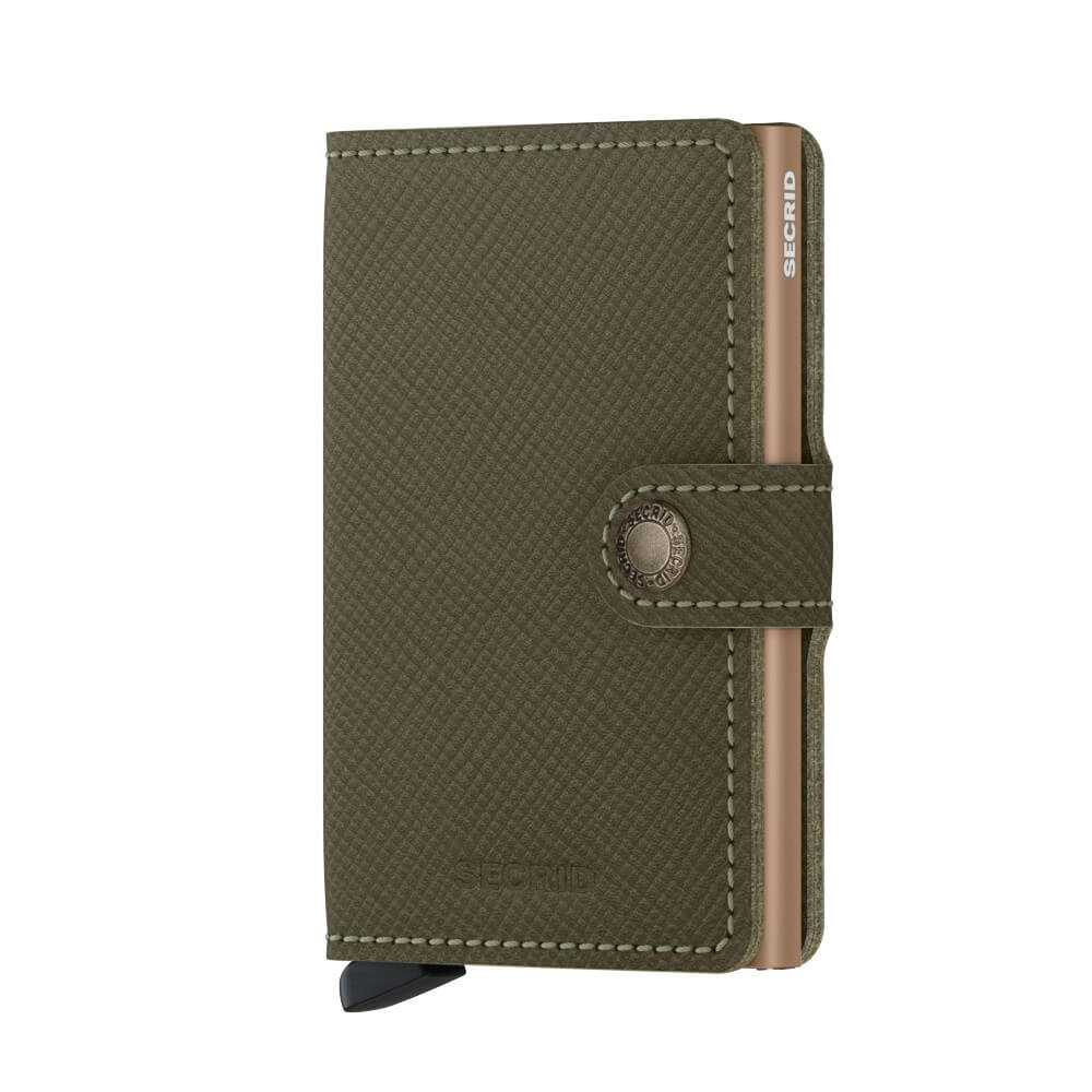 Secrid Miniwallet Saffiano in Olive front