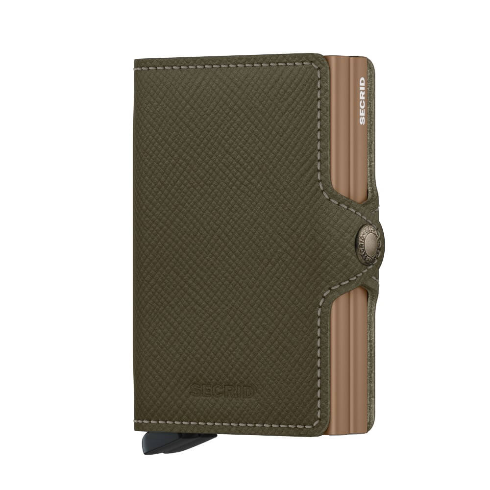 Secrid Twinwallet Saffiano in Olive front