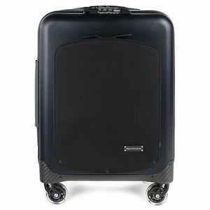 TecknoMonster Akille Pocket Aluminum Carry-On in Black front view