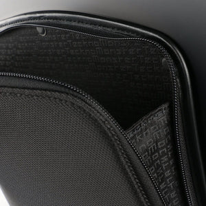 TecknoMonster Akille Pocket Aluminum Carry-On in Black front flap