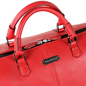 TecknoMonster Bolina Leather Duffle in red top handles