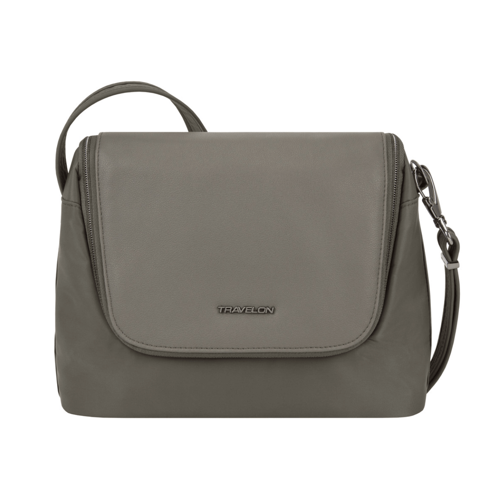 Travelon Anti-Theft Addison Women's East/West Crossbody in colour Grey - Forero's Bags and Luggage Vancouver Richmond