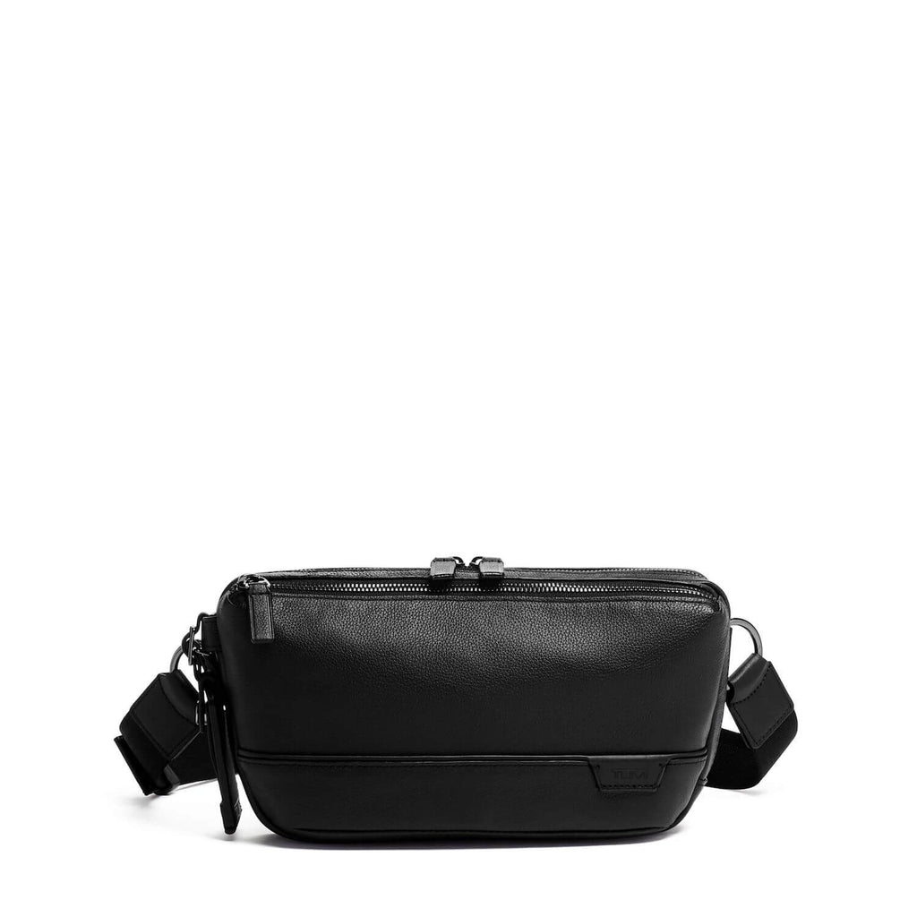 TUMI Harrison Dante Utility Pouch Leather in Black front view