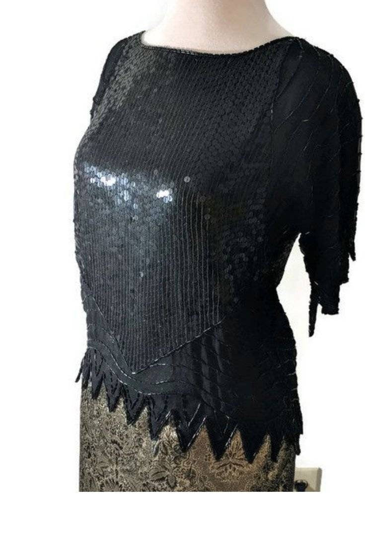 1980s Vintage Black Angular Sequin Top | Sparkly Geometric Blouse | Silk Sequin Shirt | Avant Garde | Gothic | Witchy | Punk