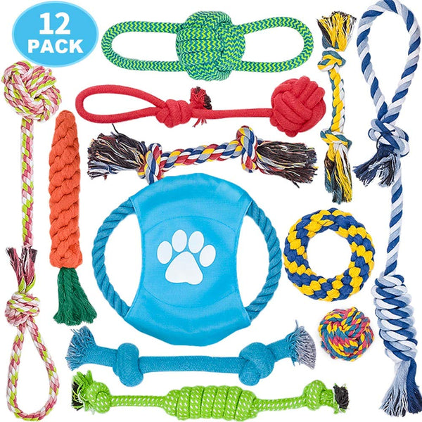 DELOMO Dog Rope Toy, 12 Pack Dog Rope Toys, Natural Cotton Dog Toy Pack for Small Dog & Puppy - Pinezca.com