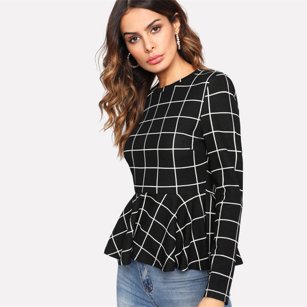 Blusa black plaid grid - Pinezca.com