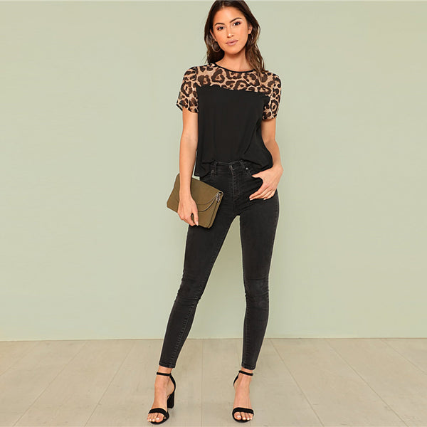 Blusa cut and sew leopard - Pinezca.com