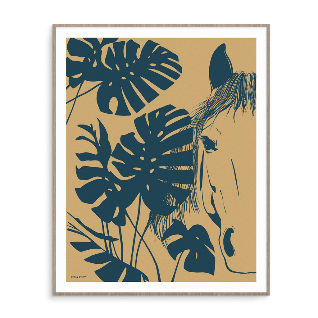 Monstera Horse in Terra | Poster
