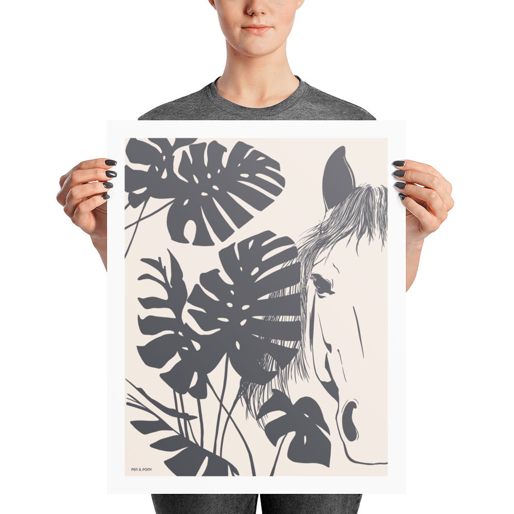 Monstera Horse in Slate | Poster