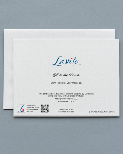 Lavilo™ Greeting Cards - Reverse Side with the Title OFF TO THE BEACH