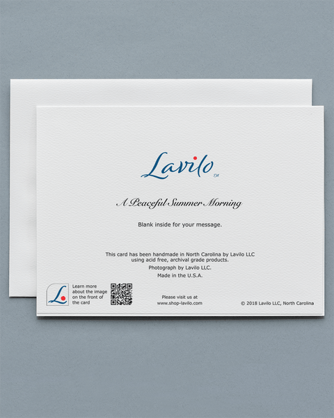 Lavilo™ Greeting Cards - Reverse side with the title A PEACEFUL SUMMER MORNING