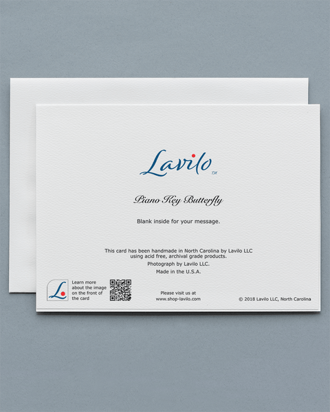 Lavilo™ Greeting Cards - Reverse Side with the title PIANO KEY BUTTERFLY