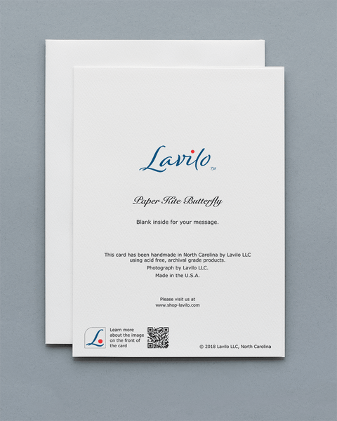 Lavilo™ Greeting Cards - Reverse side with the title PAPER KITE BUTTERFLY