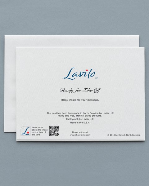 Lavilo™ Greeting Cards - Reverse side with the title READY FOR TAKE-OFF