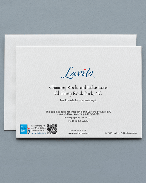 Lavilo Greeting Card - Reverse Side with Title CHIMNEY ROCK AND LAKE LURE, CHIMNEY ROCK PARK, NC