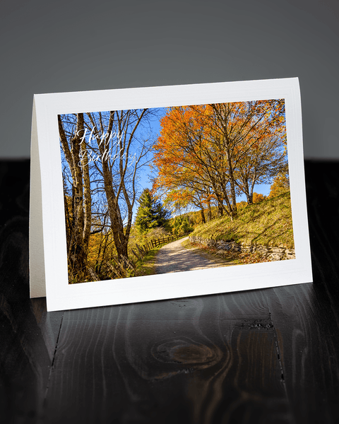 Lavilo™ Greeting Cards - Front Side - Path During Fall at the Moses H Cone Memorial Park - Blue Ridge Mountains
