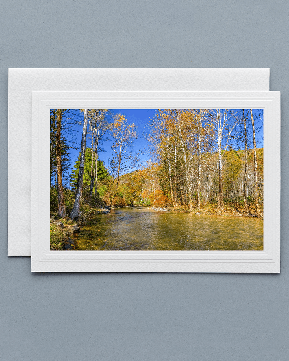 Lavilo™ Greeting Cards - Front Side - Watauga River During Fall - Blue Ridge Mountains