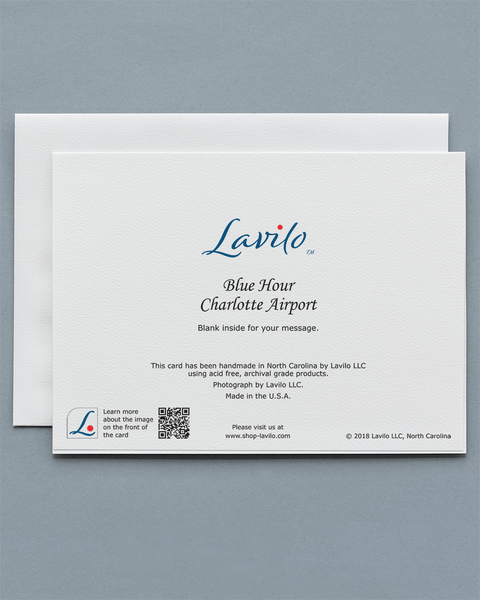 Lavilo™ Greeting Cards: Reverse Side with the Title BLUE HOUR CHARLOTTE AIRPORT