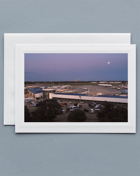 Lavilo™ Greeting Cards - Front Side Charlotte Airport at Sunset