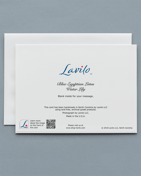Lavilo™ Greeting Cards - Reverse Side with the Title BLUE EGYPTIAN LOTUS