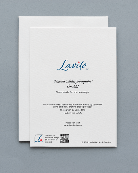Lavilo™ Greeting Cards - Reverse Side with the Title VANDA 'MISS JOAQUIM' ORCHID