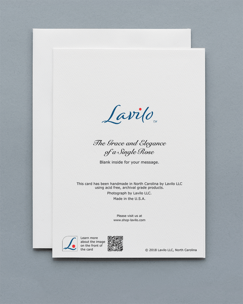 Lavilo™ Greeting Cards - Reverse Side with the Title THE GRACE AND ELEGANCE OF A SINGLE ROSE