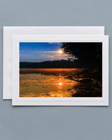 Lavilo™ Greeting Cards - Front Side - Sunrise Over a Lake