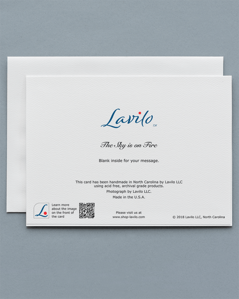 Lavilo™ Greeting Cards - Reverse Side with the Title THE SKY IS ON FIRE
