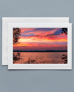 Lavilo™ Greeting Cards - Front Side - Dramatic Sunset Over Lake