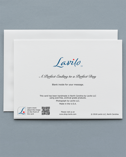 Lavilo™ Greeting Cards - Reverse Side with the Title A PERFECT ENDING TO A PERFECT DAY