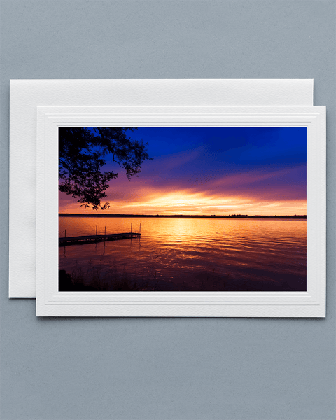 Lavilo™ Greeting Cards - Front Side Showing a Sunset Over a Lake
