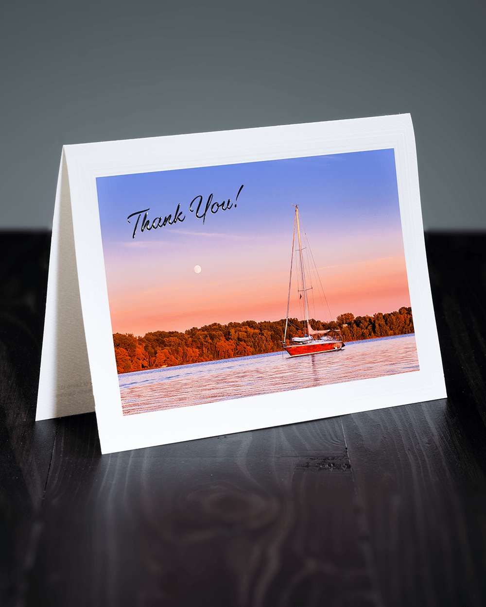 Lavilo™ Greeting Cards - Front Side Sailboat at Sunset