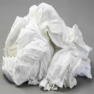 White Knit Cotton T-Shirt Wiping Rags - 50 lbs Box