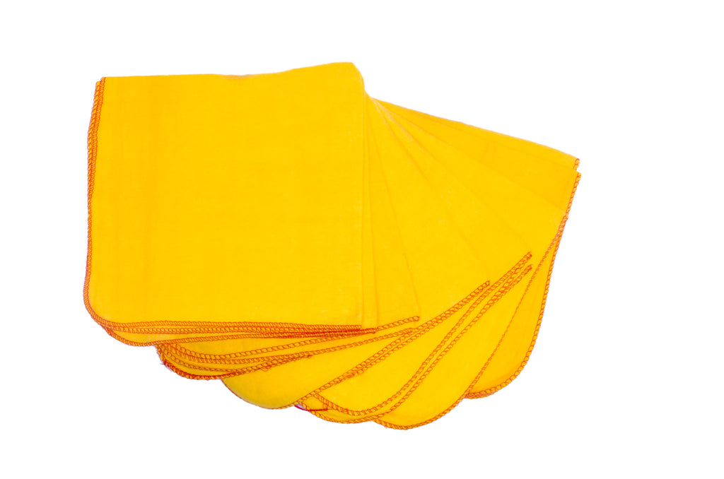 "100% Cotton Large Yellow Dust/Duster Cloth Size: 24"" x 14"" - 12 Pieces"