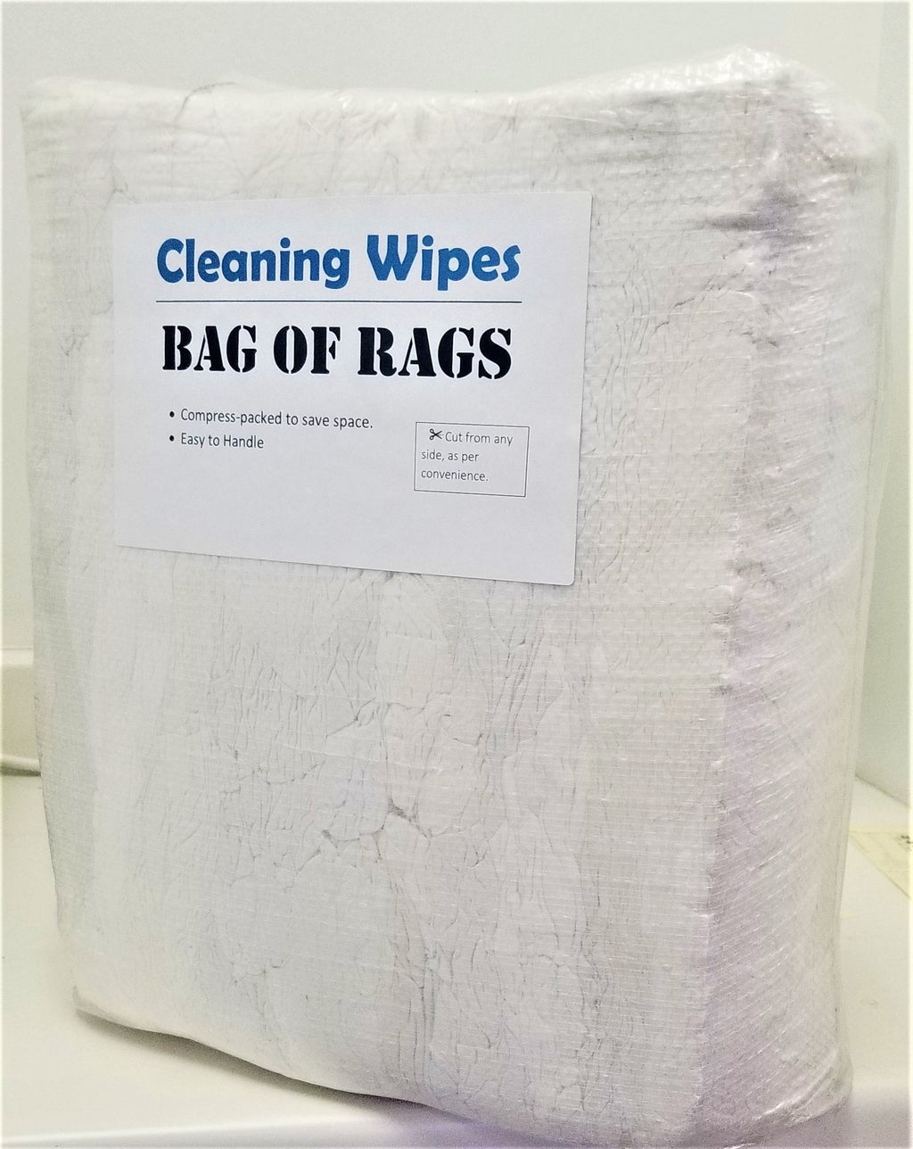 White Knit T-Shirt Wiping Rags - 25 lbs Bag