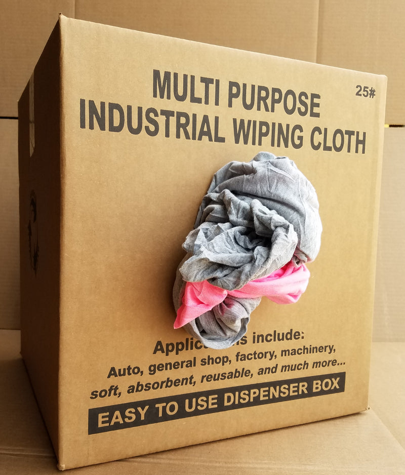 Color Knit T-Shirt Wiping Rags - 25 lbs Box