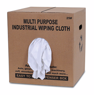 White Knit with Print Wiping Rags - 25 lbs Box