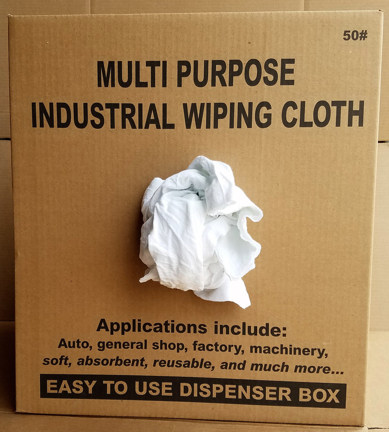 New White Knit T-Shirt Wiping Rags - 50 lbs Box