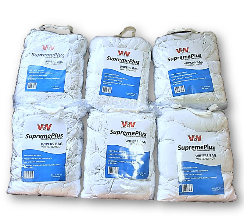 Premium New White T-Shirt Wiping Rags - 12 Bags of 4 lbs