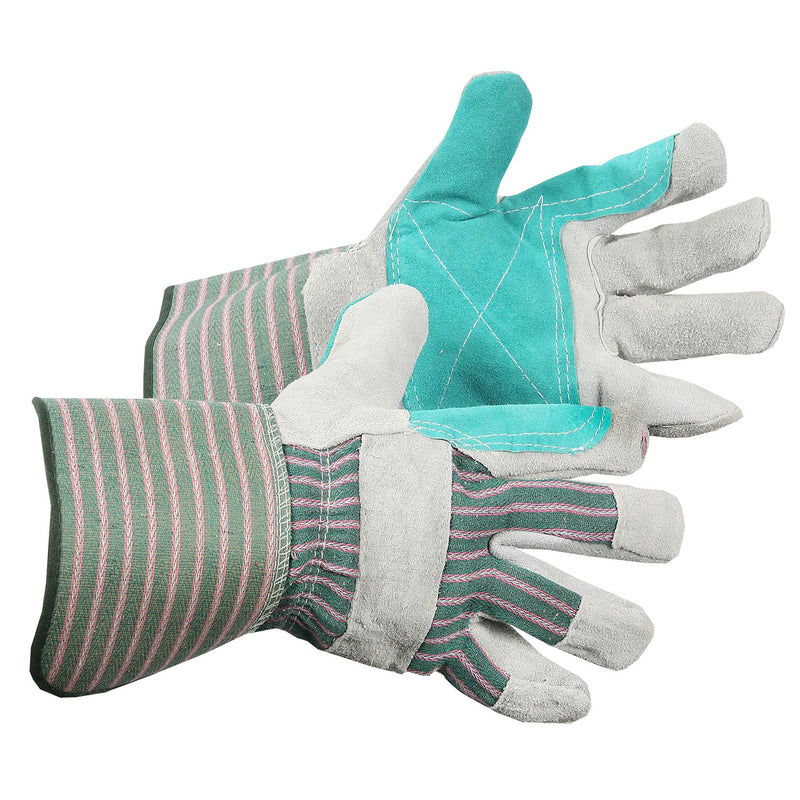 Leather Work/Rigger Double Palm Gloves - Blue/Green/Yellow