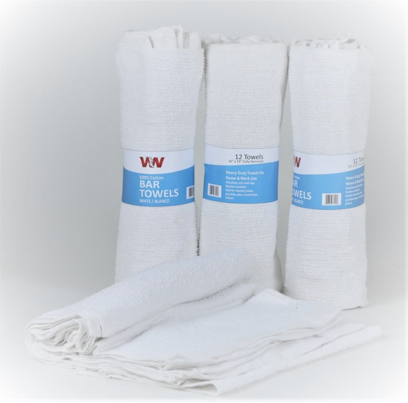 Terry Cotton Bar Towels - 54 Bundles (6 Rolls of 12 (doz)) Retail Packaging Pallet