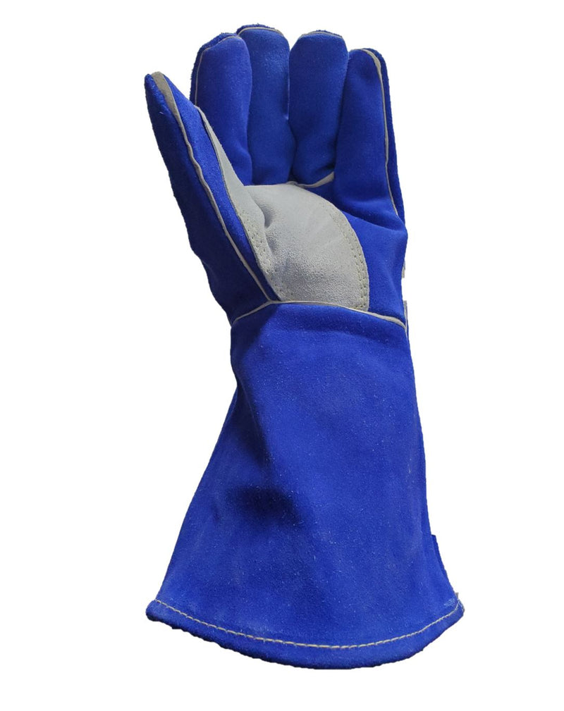 Leather Re-inforced Welding Gloves - Blue