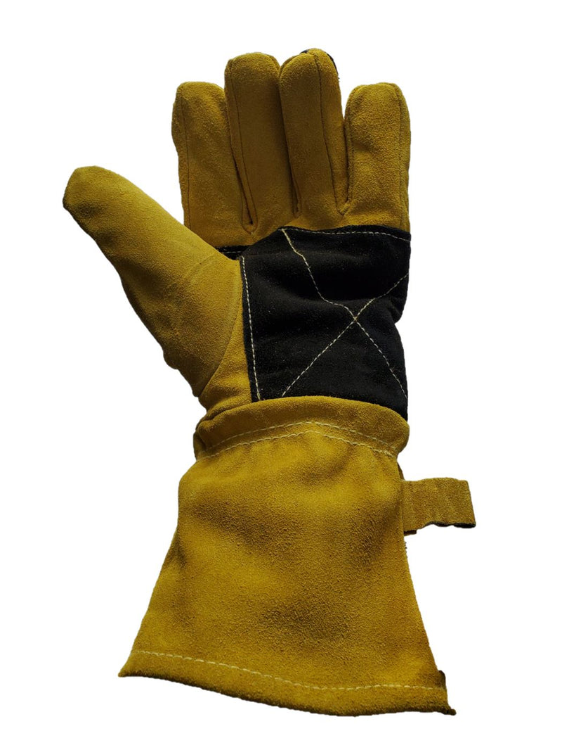 Leather Re-inforced Heavy Duty Welding Gloves - Yellow