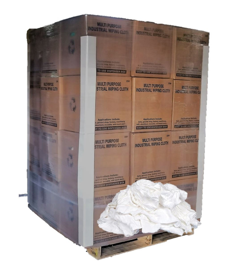 White Knit Cotton T-Shirt Wiping Rags - 600 lbs Pallet