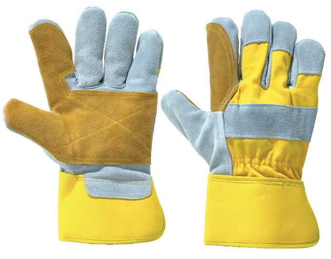 Leather Work/Rigger Double Palm Gloves - Yellow