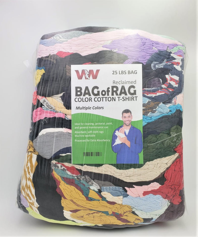 Color T-Shirt Knit Rags - 25 LB Rags in Bag